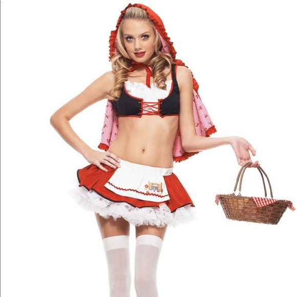 Cherry Red Riding Hood Costume + Accessories - XS